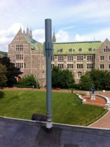 After an audit of 50 generators on its three campuses, Boston College set about modifying the stacks of 22 emergency diesel generators to increase the distance between their exhaust and receptors and to effect compliance with Massachusetts Department of Environmental Protection regulations.