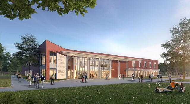 Brower Student Center exterior conceptual rendering.