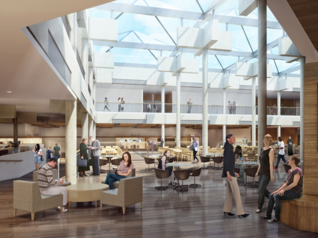 Brower Student Center conceptual atrium rendering.