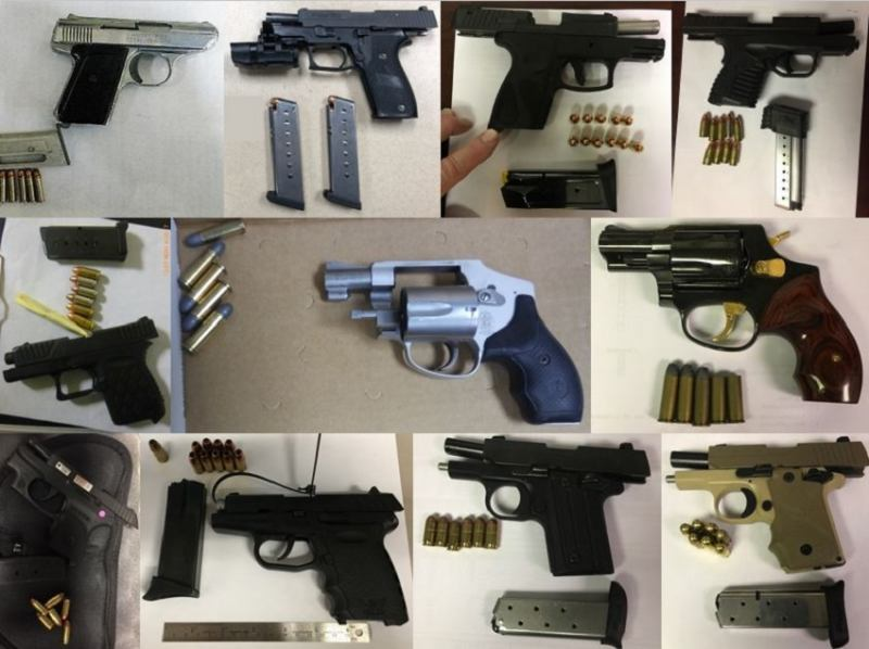 TSA discovered 63 firearms over the last week in carry-on bags around the nation. Of the 63 firearms discovered, 58 were loaded and 23 had a round chambered. Firearm possession laws vary by state and locality. Travelers bringing firearms to the checkpoint can be arrested and fined up to $11,000.