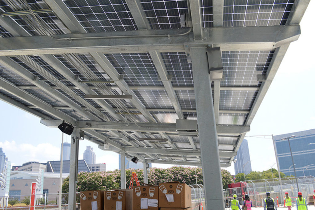 Georgia Power's solar project at Mercedes-Benz Stadium includes three phases with arrays over several parking areas and entry gates. Photo credit: Georgia Power (PRNewsfoto/Georgia Power)