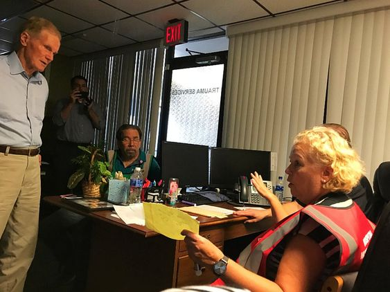 Sen. Bill Nelson visits Bay Medical Sacred Heart command center on Oct. 12. The ER is open and continues to accept patients. The focus remains on safe evacuation of patients and first repairs on the hospital. #HurricaneMichael #Michael #PCB Courtesy of Bay Medical Sacred Heart Twitter account.