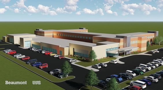 An artist's rendering of the new Beaumont & University Health Services facility to be located in Dearborn, Michigan. Construction will begin in early 2019.
