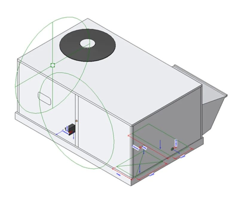 Carrier small packaged outdoor rooftop air-conditioning Revit model